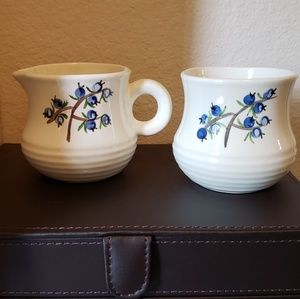 Hand Painted Ceramic Creamer & Sugar Bowl Set